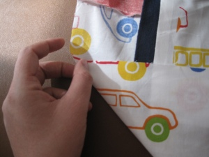 Make a right angle fold in the fabric