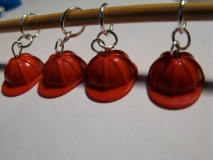 Construction Hat stitch markers