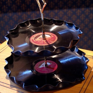 Recycled record cake stand